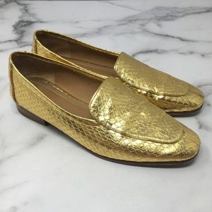 The Row Adam Watersnake Gold Loafers Size 38
